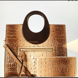 Crocodile Print Wooden Handle Satchel & Wallet